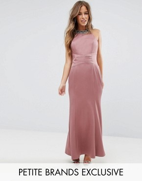 photo Embellished High Neck Fishtail Maxi Dress by Little Mistress Petite, color Canyon Rose - Image 1