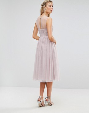 photo Lace Applique Top Midi Tulle Prom Dress by Little Mistress Tall, color Mink - Image 2