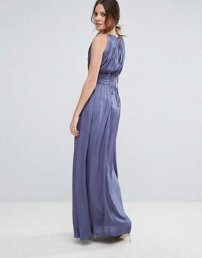 photo Wrap Front Strappy Maxi Dress by Little Mistress Tall, color Lavender Grey - Image 2