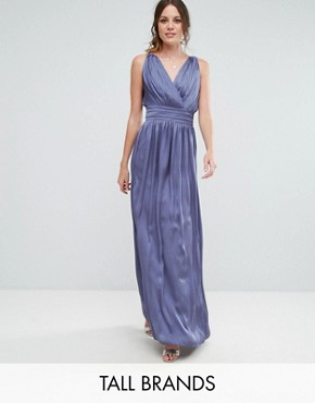 photo Wrap Front Strappy Maxi Dress by Little Mistress Tall, color Lavender Grey - Image 1