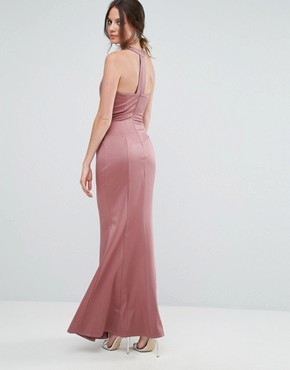 photo Embellished High Neck Fishtail Maxi Dress by Little Mistress Tall, color Canyon Rose - Image 2