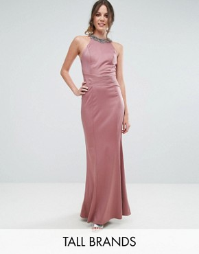 photo Embellished High Neck Fishtail Maxi Dress by Little Mistress Tall, color Canyon Rose - Image 1
