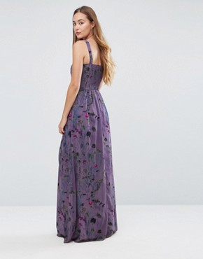 photo All Over Floral Trophy Maxi Dress by Little Mistress Tall, color Multi - Image 2