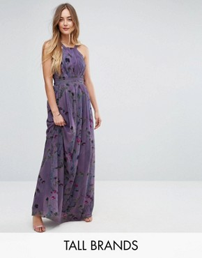 photo All Over Floral Trophy Maxi Dress by Little Mistress Tall, color Multi - Image 1