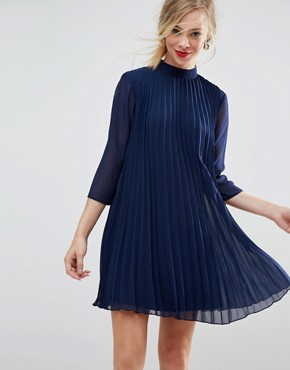 photo Pleated Trapeze Mini Dress by ASOS, color Navy - Image 1