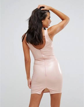 photo Vinyl Bodycon Dress by Heartbreak, color Nude - Image 2