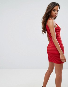 photo Ribbed Stripe Bodycon Dress by Missguided Petite, color Red - Image 2