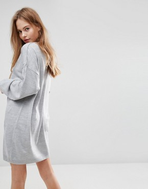 photo Knitted Jumper Dress with Volume Sleeves by ASOS, color Grey - Image 2
