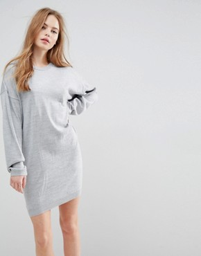 photo Knitted Jumper Dress with Volume Sleeves by ASOS, color Grey - Image 1