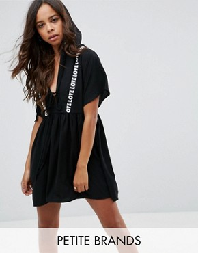 photo Hooded Smock Dress with Love Slogan Detail by Missguided Petite, color Black - Image 1