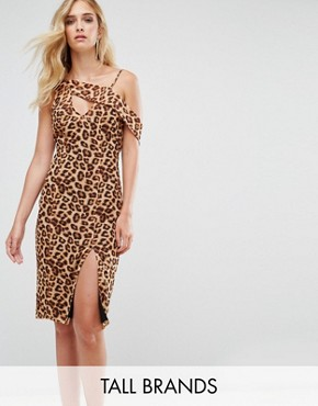 photo One Shoulder Split Hem Midi Dress by Missguided Tall, color Leopard - Image 1