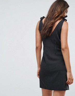 photo Pinstripe Tie Shoulder Mini Dress by Missguided Tall, color Black - Image 2
