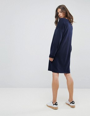 photo Knitted Jumper Dress with Volume Sleeves by ASOS, color Navy - Image 2