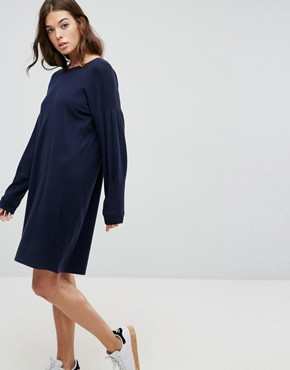 photo Knitted Jumper Dress with Volume Sleeves by ASOS, color Navy - Image 1