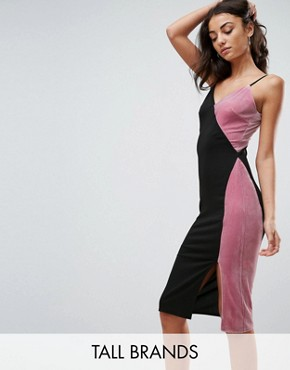 photo Contrast Velvet Midi Dress by Missguided Tall, color Multi - Image 1