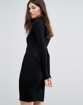 photo High Neck Knitted Dress by Bershka, color Black - Image 2