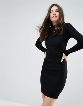 photo High Neck Knitted Dress by Bershka, color Black - Image 1