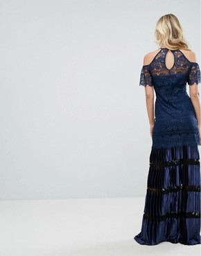 photo Bodyfrock Cold Shoulder Lace Maxi Dress with Pleated Skirt by Body Frock, color Navy - Image 2