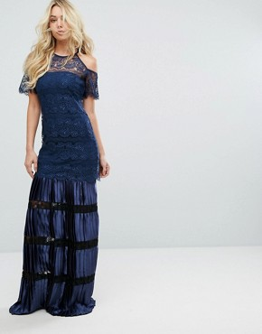 photo Bodyfrock Cold Shoulder Lace Maxi Dress with Pleated Skirt by Body Frock, color Navy - Image 1