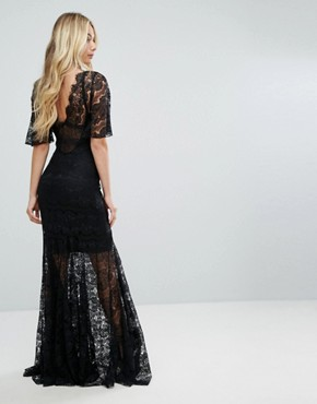 photo Bodyfrock Plunge Front Lace Fishtail Maxi Dress by Body Frock, color Black - Image 2