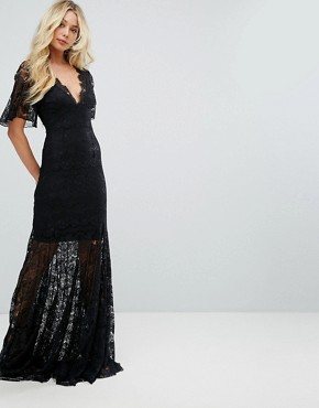 photo Bodyfrock Plunge Front Lace Fishtail Maxi Dress by Body Frock, color Black - Image 1