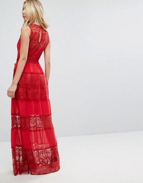 photo Bodyfrock Tiered Lace Maxi Dress with Tie Belt by Body Frock, color Red - Image 2
