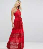 photo Bodyfrock Tiered Lace Maxi Dress with Tie Belt by Body Frock, color Red - Image 4