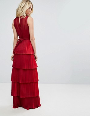 photo Bodyfrock Tiered Pleated Maxi Dress with Lace Bodice and Tie Belt by Body Frock, color Red - Image 2