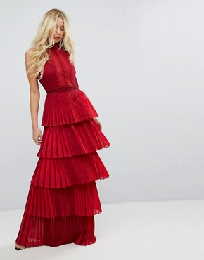 photo Bodyfrock Tiered Pleated Maxi Dress with Lace Bodice and Tie Belt by Body Frock, color Red - Image 1