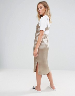photo 2 in 1 Satin Slip T-Shirt Midi Dress by Neon Rose, color Taupe - Image 2
