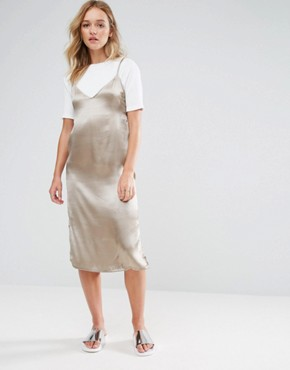 photo 2 in 1 Satin Slip T-Shirt Midi Dress by Neon Rose, color Taupe - Image 1