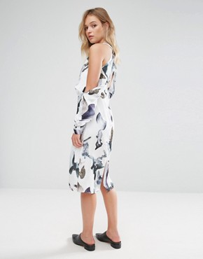 photo Elemental Cold Shoulder Printed Midi Dress by Neon Rose, color Multi - Image 2