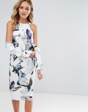 photo Elemental Cold Shoulder Printed Midi Dress by Neon Rose, color Multi - Image 1