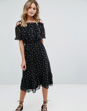 photo Exclusive Floral Printed Ruffle Hem Dress by Miss Selfridge, color Print Special - Image 1