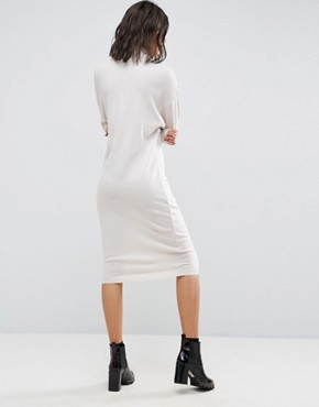 photo Knitted Dress in Midi Length with High Neck by ASOS, color Stone - Image 2