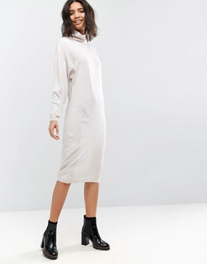 photo Knitted Dress in Midi Length with High Neck by ASOS, color Stone - Image 1