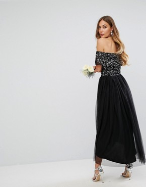 photo Bardot Midi Dress in Tonal Delicate Sequin with Tulle Skirt by Maya Tall, color Black - Image 2