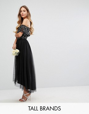 photo Bardot Midi Dress in Tonal Delicate Sequin with Tulle Skirt by Maya Tall, color Black - Image 1