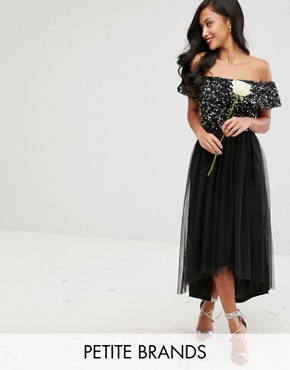 photo Bardot Midi Dress in Tonal Delicate Sequin with Tulle Skirt by Maya Petite, color Black - Image 1