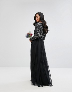 photo Plunge Front Long Sleeve Maxi Dress in Tonal Delicate Sequin and Tulle Skirt by Maya Petite, color Black - Image 2