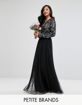 photo Plunge Front Long Sleeve Maxi Dress in Tonal Delicate Sequin and Tulle Skirt by Maya Petite, color Black - Image 1