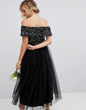 photo Bardot Midi Dress in Tonal Delicate Sequin with Tulle Skirt by Maya Maternity, color Black - Image 2