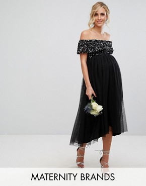 photo Bardot Midi Dress in Tonal Delicate Sequin with Tulle Skirt by Maya Maternity, color Black - Image 1