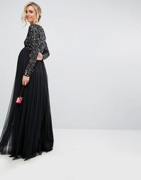 photo Plunge Front Long Sleeve Maxi Dress in Tonal Delicate Sequin and Tulle Skirt by Maya Maternity, color Black - Image 2