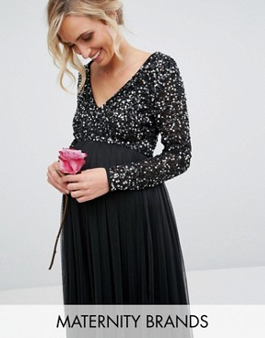 photo Plunge Front Long Sleeve Maxi Dress in Tonal Delicate Sequin and Tulle Skirt by Maya Maternity, color Black - Image 1