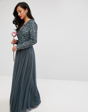 photo Plunge Front Long Sleeve Maxi Dress in Tonal Delicate Sequin and Tulle Skirt by Maya Petite, color Petrol Blue - Image 2