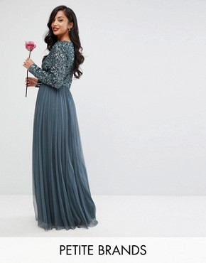 photo Plunge Front Long Sleeve Maxi Dress in Tonal Delicate Sequin and Tulle Skirt by Maya Petite, color Petrol Blue - Image 1