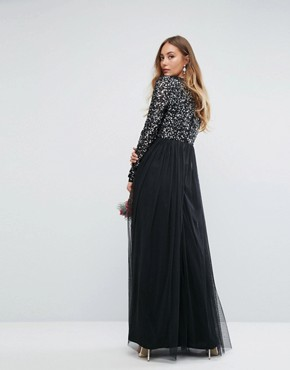 photo Plunge Front Long Sleeve Maxi Dress in Tonal Delicate Sequin and Tulle Skirt by Maya Tall, color Black - Image 2