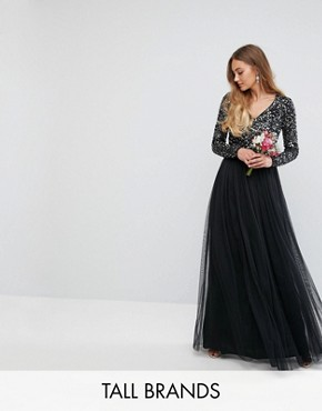 photo Plunge Front Long Sleeve Maxi Dress in Tonal Delicate Sequin and Tulle Skirt by Maya Tall, color Black - Image 1