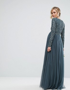 photo Plunge Front Long Sleeve Maxi Dress in Tonal Delicate Sequin and Tulle Skirt by Maya Maternity, color Petrol Blue - Image 2